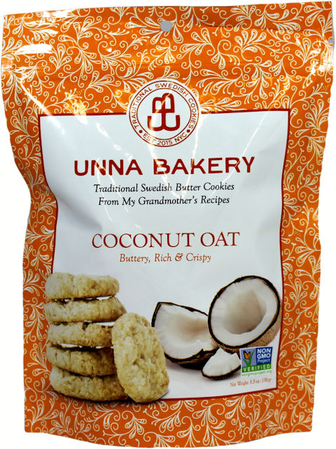Unna Bakery Swedish Coconut Oat Butter Cookies, 5.5 oz.