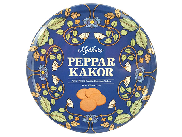 Nyakers Peppar Kakor, Swedish Gingersnap Cookies, 14.11 oz. tin