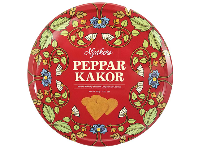 Nyakers Peppar Kakor, Swedish Heart-shaped Gingersnap Cookies, 14.11 oz. tin